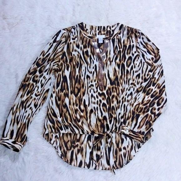 e2533270838e94 Chico s Tops - Chicos Animal Print Tie Front Blouse Size 0 Small
